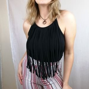 black western vibe cami top with fringes